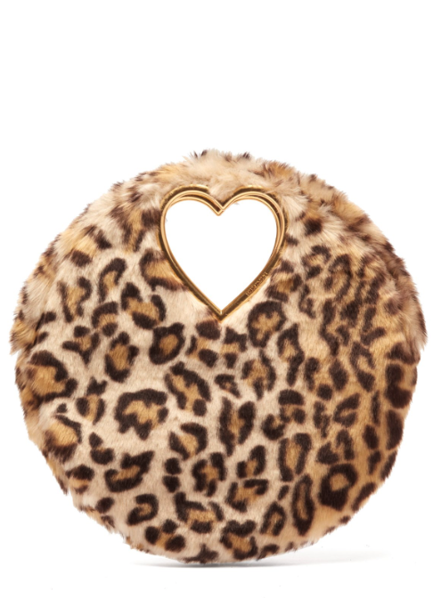 Martini leopard-print faux fur clutch