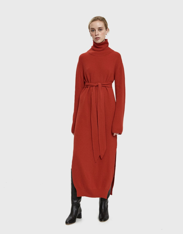 Nanushka Canaan Turtleneck Knit Dress in Red