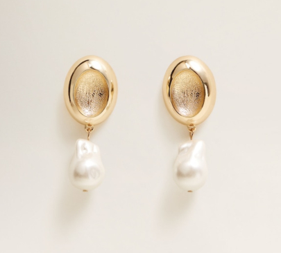 Pearl detail metallic earrings