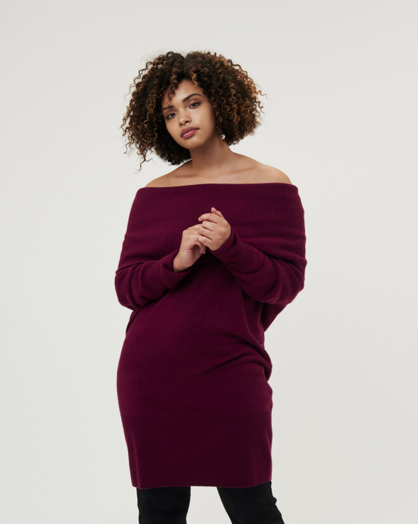 THE DANI SWEATER DRESS - AUBERGINE