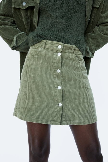 ZARA, CORDUROY MINI SKIRT