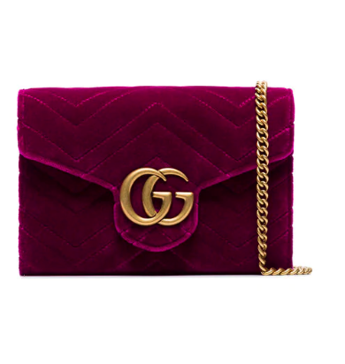 GUCCI fuchsia GG Marmont velvet wallet on a chain HK$11,050