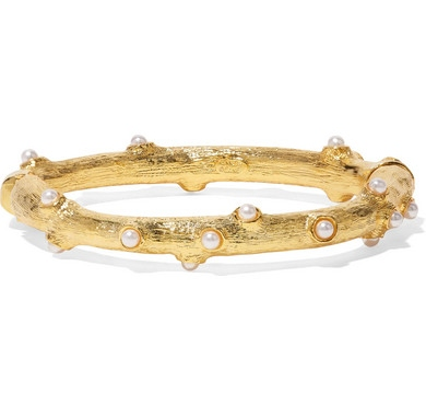 KENNETH JAY LANE Gold-tone faux pearl bangle