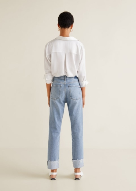 Cuffed hem relaxed jeans