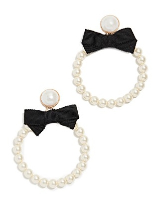 For Love & Lemons Bowtie Imitation Pearl Hoop Earrings