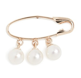 Loren Stewart Triple Pearl Safety Pin Earrings