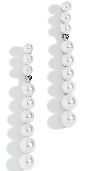 Oscar de la Renta Crystal Pearl Drop Earrings